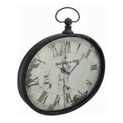 Antique Finish Oval Wall Clock `Antiquite de Paris` - This oval wall clock adds an antique looking accent to your home or office, and is sure to be admired. Made of metal, it measures 16 1/4 inches long, 15 inches tall, 2 1/4 inches deep, and has a glass clock face. The clock features quartz movement and runs on 1 AA battery (not included). The hours are marked with Roman numerals, and decorative black hands point to the time. This piece looks great among antique decor, and makes a good housewarming gift.