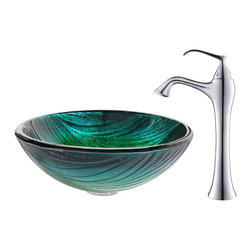 Kraus - Kraus Nei Glass Vessel Sink and Ventus Faucet Chrome - *Inspired by the lush green palette of a rolling hillside, the Nei sink looks striking in a monochromatic setting or a clean, modern space. Pair it with the soft curves of the classically inspired Ventus faucet in chrome for a contemporary twist