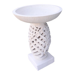 Bradbury HD - Artisan Carved Stone Planter Or Water Float - Made of Limestone and hand carved by a skilled artisan.