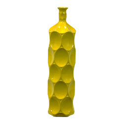 Urban Trend - Large Yellow Ceramic Bottle - Use this stylish large ceramic pot as a statement piece of artwork in any room. The bright yellow color will add a contemporary look that is eye-catching and unique. It can be used on its own or with artificial foliage to create a finished look.