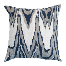 "Bandhini - Ikat Navy Lounge Throw Pillow - Soothing hues deliver a mesmerizing aesthetic to this lounge throw pillow. A fresh accent for a sofa or bed, this white linen pillow allures with an embroidered gray and navy blue ikat pattern. Dry clean. Grey goose down fill insert included. 21""W x 21""H."