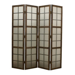 Screen Gems - Eglomise Privacy Screen Divider - This is a 4 panel high designed frosted glass screen with washed wooden frame. Give your living room, office, family room a clean and cool look. 71 in. W x 71 in. H (55 lbs.)