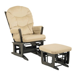 Dutailier - Modern Glider Chair w Ottoman (Beige) - Fabric: Beige. Exclusive glide system. Top quality sealed ball bearings. Removable foam cushions and padded arms. Easy care micro fiber fabric. Frame made from hardwood. Minimal assembly required. Espresso finish. Made in Canada. Chair: 31 in. W x 26 in. D x 43 in. H. Ottoman: 20 in. L x 18 in. W x 14.75 in. H. Weight bearing capacity: 250 lbsThis Modern glider and ottoman combo offers an exceptionally smooth and extra long glide motion with thick cushions and padded arms. The combination of its contemporary design and espresso finish will add value to any room. There are no sharp edges, the finish is toxic free and this product meets all safety standards.