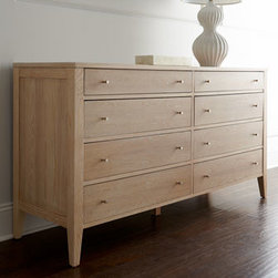 "Horchow - Karington Natural Dresser - Talk about versatile. Sleek, contemporary dresser works with a variety of decorating styles. Handcrafted of ash solids and elm veneers. Finished by hand with a seven-step finishing process. Eight drawers. 66""W x 20""D x 36""T. Imported. Boxed weight..."