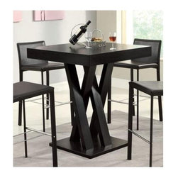 Bar Table - Bold, crisscross table leg supports add a unique style to this bar table that can double as a kitchen table.