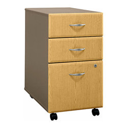 Bush Business - Assembled Three Drawer File Cabinet w Light O - The Assembled Series A Light Oak 3 Drawer File rolls on heavy duty casters, allowing convenient mobility even when fully loaded.  This stylish file features full-extension, ball-bearing drawer slides and includes a single gang lock to secure the lower two drawers.  Add design flexibility in office configurations with castered filing cabinets.  Light oak face is attractive for any setting and case arrives fully assembled.  Papers are protected with a single lock. * Two box drawers hold small office supplies. File drawer opens on full-extension, ball-bearing slides. One lock secures bottom two drawers. File drawer holds letter- or legal-size files. Casters for easy mobility when loaded. Fully assembled case goods. 15.512 in. W x 20.276 in. D x 28.150 in. H