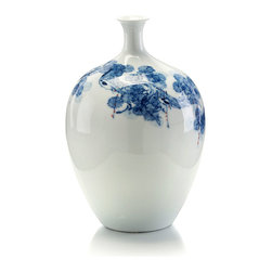 Round Bodied Blue and White Jar - The ink-painting style of the conifer branch illustrated on the walls of the Round Bodied Blue and White Jar lends a luscious, quieting abstraction to the design, while its asymmetrical limitation of scale leaves plenty of white-glazed space light and pure so the clean shape of this vase can be appreciated.  That shape � ballooning shoulders and a narrow neck � is itself exquisitely formed.
