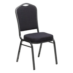 Flash Furniture - Hercules Series Crown Back Stacking Banquet Chair with Black Patterned Fabric - This is one tough chair that will withstand the rigors of time. With a frame that will hold in excess of 500 lbs., the Hercules Series Banquet Chair is one of the strongest banquet chairs on the market. You can make use of banquet chairs for many kinds of occasions. This banquet chair can be used in Church, Banquet Halls, Wedding Ceremonies, Training Rooms, Conference Meetings, Hotels, Conventions, Schools and any other gathering for practical seating arrangements. The banquet chair is also great for home usage from small to large gatherings. For any environment that you use a banquet chair it will put your guests at a greater comfort level with the padded seat and back. Another advantage is the stacking capability that allows you to move the chairs out of the way when not in use. With offerings of comfort and durability, you can be assured that you can enjoy this elegant stacking banquet chair for years to come.
