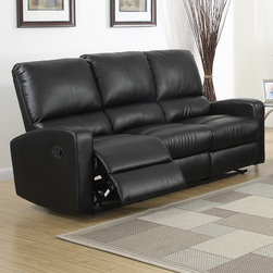 None - Bryant Dual Reclining Sofa - Relax and enjoy the big game or your favorite movie with friends and family in this comfortable Bonded Leather Sofa. One of the best features of this sofa is that it has the ability to recline so you can enjoy maximum comfort.