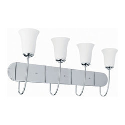 Lite Source - Lite Source LS-16784C/FRO Dover 4 Light Bathroom Vanity Lights in Chrome - 4-Lite Vanity Wall Lamp, Chrome/Frost Glass Shade, A 60Wx4