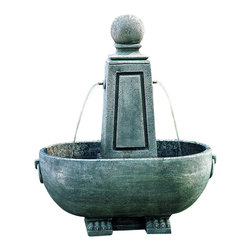 Campania - Minerva Obelisk Garden Water Fountain, Aged Limestone - The Minerva Obelisk Garden Fountain offers a contemporary style and elegance. The water creates a tranquil flowing water sound from this multi-tiered. The finishing techniques make every piece a uniquely beautiful and original work of art. Available in (6) six different colors: Natural, Greenstone, Alpine Stone, Verde, Aged Limestone, and Brownstone.