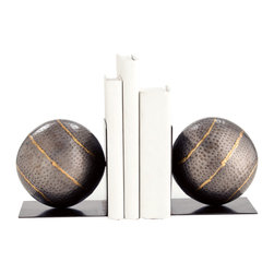 Kathy Kuo Home - Gauge Hammered Iron Industrial Modern Iron Bookends - This pair of beautifully crafted, mixed metal bookends create a beautifully bold addition to any shelf.  In hammered iron with brass detailing, they make a particularly sophisticated pair.