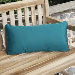 None - Charisma Indoor/ Outdoor Teal Blue Pillow made with Sunbrella - Add a splash of color to a swing or lounge chair with this lovely blue outdoor pillow. The decorative pillow features fabric that is resistant to fading,staining and mildew,so you dont have to worry about leaving it outside in the sun or rain.