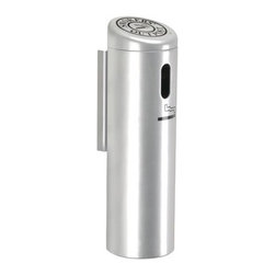 """Commercial Zone - Wall-Mounted Locking Ashtray with Swivel Cigarette Receptacle - The Wall-Mounted Smokers' Outpost unit is a stylish alternative for cigarette receptacles. Features: -No messy sand or continual cleanup. -Space-saving design is perfect for wall or column placement. -Wall mount bracket included. -Includes 1 year warranty. -Overall Dimensions: 16"""" H x 4"""" W x 4"""" D."""