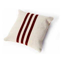 Cream Pillow with Red Stripe -