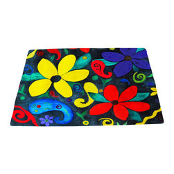 xmarc - Garden Area Plush Area Rugs From Original Art, Retro Floral, 48 X 30 - Retro floral garden area plush area rugs from original art. Tree frogs, dragonflies, flowers, lady bug, butterflies.