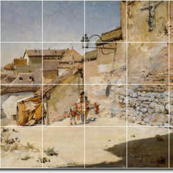 Picture-Tiles, LLC - Sunny Spain Tile Mural By William Chase - * MURAL SIZE: 32x48 inch tile mural using (24) 8x8 ceramic tiles-satin finish.