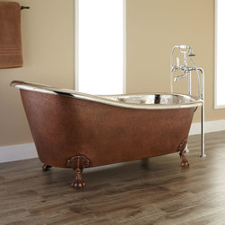 """66"""" Donnelly Hammered Copper Slipper Clawfoot Tub - Nickel Interior - This exquisitely designed handcrafted bathtub will become the centerpiece of any bath suite with its contrasting copper finish and stunning Nickel-plated interior."""