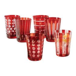 Two's Company - Ruby Red Etched Double Old-Fashioned Glasses, Set of 6 - Ruby Hand-Etched Old-Fashioned Glasses , hand blown glass, unique, stylish design, coloured glass, not painted.