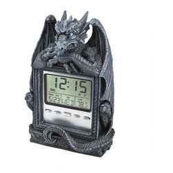 EttansPalace - Sleepy Dragon Gargoyle Statue Sculpture Time LCD Alarm Clock - Time and temperature from a dragon's point of view! Our dragon isn't breathing fire but He's still certain to wake you up in the morning! Artist Chang's quality designer resin dragon wraps his wide wings and devilish tail around a brushed, silver-toned metal LCD alarm clock featuring day, date, temperature and multi-sound alarm. Keeps you on time and makes the perfect gift for any dragon aficionado in your life! Takes 2 LR44 watch batteries, which are included.