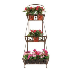 Deer Park Ironworks 3 Basket Floor Planter Stand - Add life to your decor and display your favorite plants and flowers with the Deer Park Ironworks 3 Basket Floor Planter Stand. Simple and elegant detailing add a touch of sophistication without taking away from the beauty of your plants. Made from durable, heavy gauge metal and protected with a baked-on, powder-coated finish to protect it from the elements, this beautiful plant stand has a gorgeous, natural patina color which complements any decor indoors or out. Slatted shelves also makes it easy to water and grow your pants without water pudding at the bottom. A gorgeous addition to your home, you'll fall in love with this beautiful planter.About Deer Park Ironworks, LLCYou'll immediately recognize a yard that's been appointed with pieces from Deer Park, thanks to the classic wrought iron designs and traditional finish that has made them an power player in the outdoor furniture industry. Dedicated to creating value for their customers with durable, quality pieces of functional and ornamental wrought iron, Deer Park continues to provide timeless designs while never sacrificing customer service and satisfaction as their pursue their corporate goals.