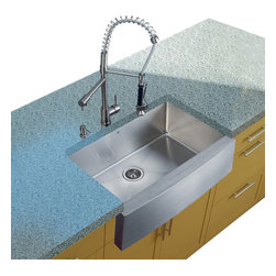 Vigo Industries - Platinum Farmhouse Kitchen Sink with Faucet and Dispenser - Includes stainless steel kitchen sink, stainless steel kitchen faucet, strainer and stainless steel soap dispenser and all mounting hardware