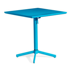 Zuo Modern - Square Table in Aqua - Durable and fits for all climate. Folds up for ease of storage. Warranty: One year limited. Made from epoxy coated steel. Assembly required. 27.6 in. W x 27.6 in. D x 29.5 in. H (35 lbs.)Add color to any outdoor space with the Big Wave folding table.