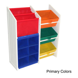 None - RiverRidge Kids Super Storage with 3 Primary Colored Bins,Book Holder and 6-slot - This pleasant and convenient set offers a two-slot,slanted book or magazine rack along with a six-slot cubby for storage. The simple to assemble storage is great for the kids' room,play area,family room,entry way or bathroom.