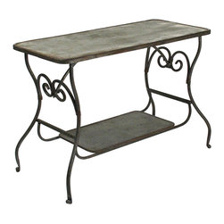 Kathy Kuo Home - French Art Nouveau Style Iron Scroll Metal Desk - Step into an old French study and marvel at the sturdy, stylish surface upon which one has the pleasure to work.  Made of iron and galvanized steel, this art nouveau style desk features scroll detailing, and a blackened, oxidized finish.  Sure to be appreciated by the artsy individual, this desk makes a great addition to the French-inspired interior.