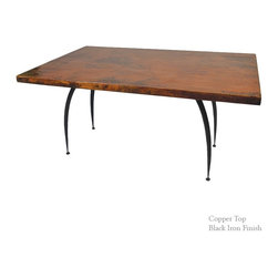 "Mathews & Company - Pinnacle Rectangle Dining Table with 72"" x 42"" Top - The Pinnacle Dining Table with 48"" table top features a modern style wrought iron base that comes in 4 custom finish options and your choice of a Copper or Zinc. Pictured in Copper top and Black finish."