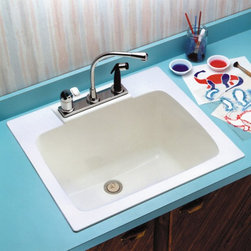 Mustee - Mustee Durastone 10 Single Basin Drop In Utility Sink - 10BN - Shop for Commercial Laundry and Utility from Hayneedle.com! You can wash a dog or just do a little extra cleaning in the deep and durable Mustee Durastone 10 Single Basin Drop In Utility Sink. This sink is made from rugged fiberglass that's formed in matched metal molds so you'll have a deep roomy sink that's perfect for the garage laundry room or anywhere in your home that you might need to to do a little extra cleaning. The deep bowl is color-fast and stain-resistant and has a 17-gallon capacity with a 1-1/2-inch drain assembly and stopper at the bottom. When you're ready to install just add the single- or dual-handle faucet of your choice. This sink also connects easily to a standard 1-1/2-inch P- or S-trap making it a simple addition to any part of your home or business About E.L. Mustee & SonsSide-arm water heaters hot plates and incinerators were all the rage when Emil Lawrence founded his innovative company back in 1932 and today E.L. Mustee & Sons keep that spirit of customer-satisfying innovation alive with their full line of products that stress functionality durability and dependability. The full line of E.L. Mustee & Sons products include DURAWALL shower and bathtub walls DURASTALL shower stalls TOPAZ bathtubs DURABASE shower floors STYLEMATE shower enclosures UTILATUB and UTILATWIN laundry tubs DURATUB laundry cabinets VECTOR and DURASTONE utility sinks DURASTONE mop service basins DURAPAN washer and water heater pans; and CareGiver easy-access showers safety grab bars and fold-down shower seats. The team at E.L. Mustee & Sons goes to great lengths to make sure that each product that leaves their U.S.-based production facility is the kind of long-lasting product that you'll use often.