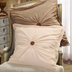 Boucle Euro Sham - Crafted of airy, open, lined netting in muted neutrals, these accessories for the bed create a laid-back yet elegant ambiance that never looks fussy - or fussed over. Tufted with an oversized wood button, the euro sham is hand ruched for a richly textured look.