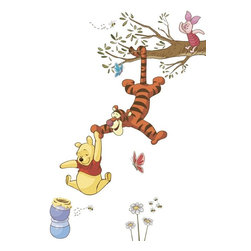 RoomMates Peel & Stick - Winnie The Pooh Swinging for Honey Peel and Stick Giant Wall Decals - Bring the magic home with these Winnie the Pooh wall decals. Decorate your child's nursery or bedroom with Winnie the Pooh, Tigger, and Piglet swinging for honey. These removable decals are easy to install: simply remove from the backing and assemble on any smooth, flat surface. And each element can be removed, repositioned, and re-applied multiple times without damage or residue on your walls. A great finishing touch for any Pooh and Friends themed bedroom!
