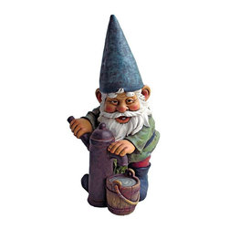EttansPalace - Water Pump Pete Garden Gnome Statue - From The Acorn Hollow Garden Statuary Collection; When you could use a little gnome magic at your entryway, garden vegetable plot or flowerbed, Water Pump Pete the Garden Gnome Statue is at the ready! Sporting a pointy elf hat and fluffy gnome beard, this garden elf statue extends a warm welcome to all visitors to your home or garden. Imaginatively sculpted, our quality designer resin garden gnome statue is hand-painted one piece at a time.