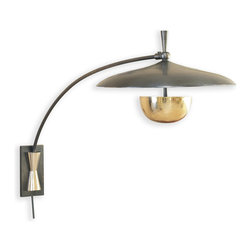 Kathy Kuo Home - Wright Modern Deco Large Bronze Brass Arc Wall Sconce - Reminiscent of old street lamps lighting your way home, this large, wall sconce arcs out in a unique, three-dimensional design. Attaching to the wall by a metal cleat, this sculpted brass lamp is finished in antique bronze. Two candelabra bulbs are covered by the ample round shade on top and the stunning, smaller gold dome underneath.