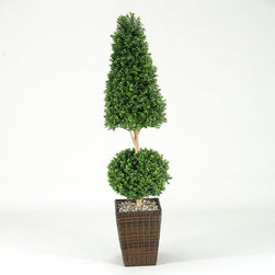 Frontgate - Ball and Cone Boxwood Topiary Christmas Decor - Long-lasting permanent botanical. Handcrafted of the finest materials for the most realistic look possible. Constructed with durable UV-resistant materials. Maintenance free. Arrives in a dark brown woven basket topped with river gravel. Lush, always green and thriving, our Ball and Cone Boxwood Topiary will deck your halls with charm and sophistication. The lifelike plant is UV-resistant so its beautiful colors will never fade. Crafted of high-quality materials for the most realistic look, it will never need pruning or maintenance.  .  .  .  .  . Plant is secured in place with dense foam material in a weather-resistant outdoor planter .