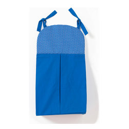 Simplicity Blue - Diaper Stacker - Diaper stacker designed with solid blue and blue dots cotton print fabric.
