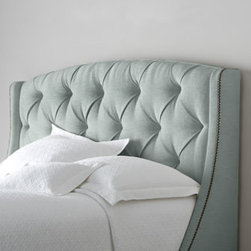 """Bernhardt - Bernhardt """"Rami Wing"""" Tufted Headboard - We love how the wings on this headboard seem to invite you to snuggle in for a bit of rest. Button tufting and nailhead trim add definition to its clean lines. Handcrafted. Polyester upholstery on hardwood frame. Select color when ordering. Finishe..."""