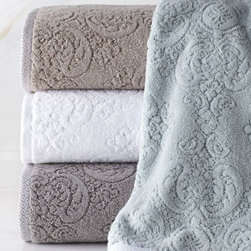 "Kassatex - Kassatex ""Bedminster"" Damask Hand Towel - Sculpted with a refined motif of subtle florals and piece dyed for exceptionally rich color, these towels bring exquisite softness and texture to the bath. Made of ring-spun cotton; 650 gsm. Select color when ordering. Machine wash. Bath towel, appr..."