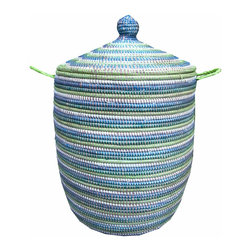 African Wolof Laundry Hamper, Marine - Help make the world a better place by purchasing this African laundry hamper, a fair-trade product from Senegal. It was made in a co-op of Senegalese Wolof women who weave plastic strips from recycled prayer mats with local grasses to create this remarkably strong, rigid, water-resistant and easy-to-clean basket. Each also has two woven handles and a lid.