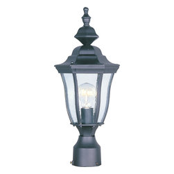 Madrona-Outdoor Pole/Post Mount - This One Light Post Light is part of the Westlake Collection and has a Black Finish and Clear Glass. It is Outdoor Capable, and Wet Rated.