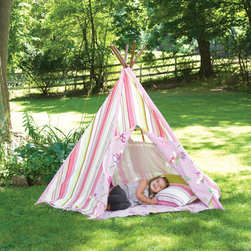 Pink Stripes Teepee, Tents & Teepees - Is there anything more fun than having a slumber party inside a teepee?