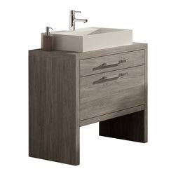 "Macral - Montreal Bathroom Vanity, Oak Joplin, 32-Inches - Bathroom vanity 24-inch and 32-inch. Sink Dimension: 19-5/8"" W x 17-1/4"" L x 4"" H. The price ONLY includes the vanity and the vessel sink, all the rest items such as the mirror, faucet, linen cabinet...are NOT INCLUDED, but can be sold separately. Joplin oak thermo-laminated finish. Suggested for small bathroom or narrow spaces. Two drawers with soft close. The interior of the first drawer have very efficient divisions to give space and order. The second drawer with extra storage. The set includes a white resin square vessel sink. Made in Spain by Macral"