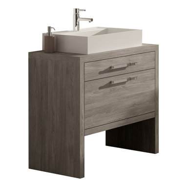 """Macral - Montreal Bathroom Vanity, Oak Joplin, 32-Inches - Bathroom vanity 24-inch and 32-inch. Sink Dimension: 19-5/8"""" W x 17-1/4"""" L x 4"""" H. The price ONLY includes the vanity and the vessel sink, all the rest items such as the mirror, faucet, linen cabinet...are NOT INCLUDED, but can be sold separately. Joplin oak thermo-laminated finish. Suggested for small bathroom or narrow spaces. Two drawers with soft close. The interior of the first drawer have very efficient divisions to give space and order. The second drawer with extra storage. The set includes a white resin square vessel sink. Made in Spain by Macral"""