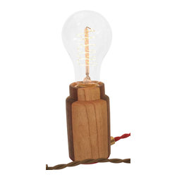 Modkom Interior Decor - The Accent Lamp, Striped Cherry/Purple Heart, Medium Globe Bulb - Distinct accent lamp for a side table, bar counter, night stand or credenza. Comes in striped Walnut/Ash, Wenge or Black Walnut woods. All lamps have colored fabric wires with a dimmer switch for atmospheric lighting.