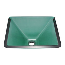 PolarisSinks - Polaris p306 Emerald Colored Glass Vessel Sink - Our glass sinks come in a large variety of colors and styles to fit any decor. Our line of glass sinks will add elegant beauty to your bathroom. the glass sinks are manufactured using fully tempered glass. tempered glass is stronger and can withstand higher temperatures than normal glass. the quality of the glass makes maintenance very easy. the glass is non porous and will not absorb odor or stains making it a very sanitary option in bathroom sinks. Our glass sinks are covered by a limited lifetime warranty. Each sink comes with a cardboard cutout template and mounting hardware.