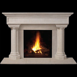 Caradon Stone Fireplace Mantel - With twin pillars and contemporary styling, the Caradon stone fireplace mantel is perfect for sprucing up a dull living room. Choose from custom or standard sizes and honed or polished finishes.