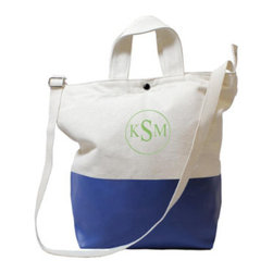 "Grandin Road - Personalized Color Dipped Canvas Tote - 100% natural canvas tote dipped in matte latex. Equipped with two wide carrying handles, an adjustable 1""-thick shoulder strap, multi snap closures and an interior pocket. Select from six bright latex colors. Spot clean and air dry. An embroidered circle monogram is included with your order; select up to three characters (First name initial, Last name initial, and Middle initial). Great for travel and for everyday, the Color-dipped Canvas Tote is perfectly suited for use as a pocket book or for stashing magazines and tablets. It's so versatile, you'll want to have one for yourself and give one as a gift. Just select a color and have it embroidered with up to three characters in a circle; personalization is included.. . . . . Block-style letters are embroidered in complementary-colored thread; see color options for more information. Imported. Personalized items are not returnable."
