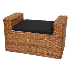 Oriental Furniture - Rush Grass Storage Bench - Honey - A beautifully crafted, rustic design storage bench, great for a window seat or storage trunk in practically any room. Built with a kiln dried wood frame and woven water hyacinth rush grass in an attractive rattan style design. The foam cushion is upholstered with an attractive Japanese style black fabric; the inside is lined with a lovely white fabric.