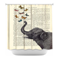 DiaNoche Designs - Shower Curtain Unique from DiaNoche Designs by Madame Memento - Elephant Butterf - DiaNoche Designs works with artists from around the world to bring unique, artistic products to decorate all aspects of your home.  Our designer Shower Curtains will be the talk of your guests every visit to your bathroom!  Our Shower Curtains  are 71 x 74 inches, have Sewn reinforced holes for curtain rings (Shower Curtain Rings Not Included).  Polyester material does not hold moisture and will not grow mildew.  Dye Sublimation printing adheres the ink to the material for long life and durability. Machine Wash upon arrival for maximum softness on cold and dry low.  Printed and shipped in the USA!